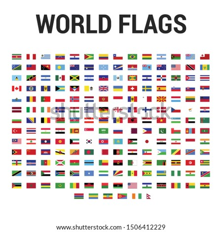Official International National Flags of The World Vector Set