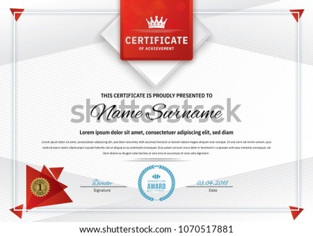 modern clean red and white certificate design - Download Free Vector ...