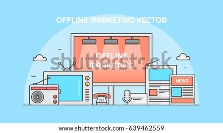 Offline marketing for business branding, tv advertising, pamphlets, telemarketing, radio ads, and billboards vector banner