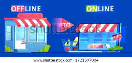 Offline to Online. Commerce Definition banner. Shop on site and shop in real life. Involve Seo Users. flat illustration