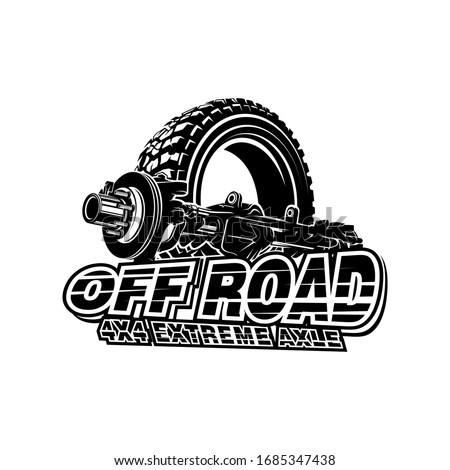 Offroad car axle with tire logo tubular extreme 4x4 vehicle rock bouncher. Foto stock ©