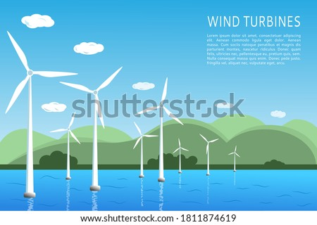 Offshore and onshore wind farms Green energy wind turbines at sea, in the ocean. Vector illustration. Place for text Stock photo ©