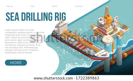 Offshore oil rig. Sea drilling rig platform for gas and petroleum fuel production. Landing page template for offshore oil and gas industry with platform tanker. Vector isometric offshore rig