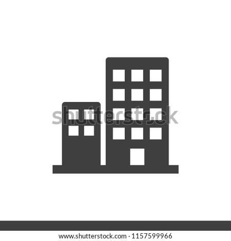 Ofice building flat vector icon isolated on white background