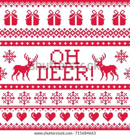 oh deer red pattern  christmas
