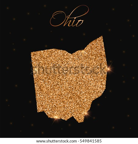 Ohio map filled with golden glitter. Luxurious golden glitter map of Ohio with golden glitter texture, sparkles and stars. Vector illustration.