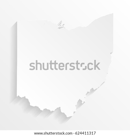 Ohio Map with shadow. Cut paper isolated on a white background. Vector illustration.