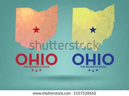 ohio state map with nickname The Buckeye State , vector eps 10.