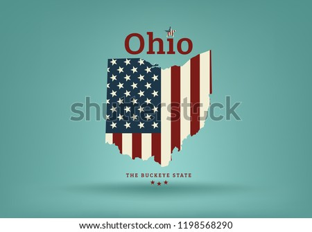 Ohio state map with nickname THE BUCKEYE STATE, Vector EPS 10.
