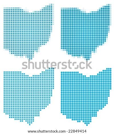 Ohio (USA) map mosaic set. Isolated on white background.