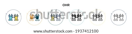 Ohr icon in filled, thin line, outline and stroke style. Vector illustration of two colored and black ohr vector icons designs can be used for mobile, ui, web Сток-фото ©