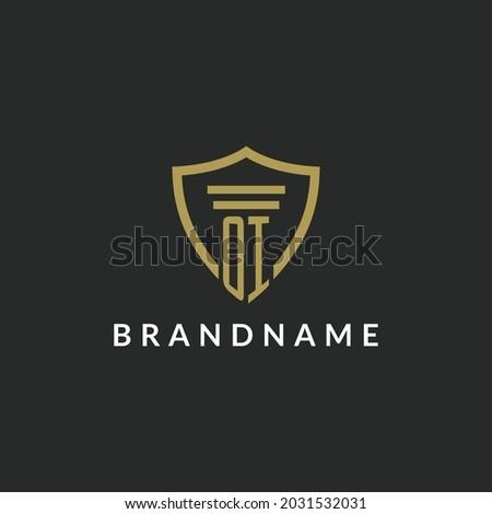 OI initial monogram logo with pillar and shield style design ideas Foto stock ©