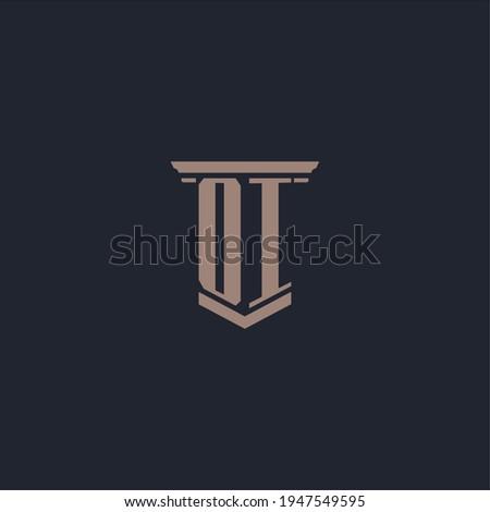 OI initial monogram logo with pillar style design Foto stock ©
