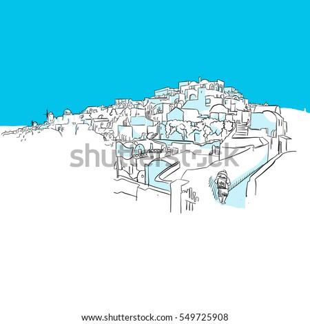 oia panorama  greece  blue