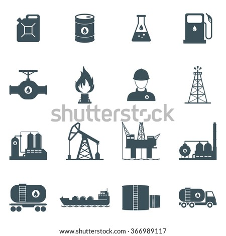 oil and gas industry icon set. oil drilling, refining, production, transportation and storage process. isolated on white background. vector illustration