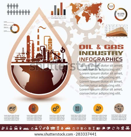 oil and gas industry infographics, extraction, processing and transportation