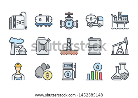 Oil and gas industry related color line icon set. Fuel industry colorful linear icons. Gasoline flat color outline vector sign collection.