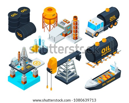Oil and gas petroleum refining. Isometric pictures set