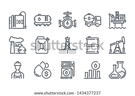Oil and gas related line icon set. Fuel industry linear icons. Gasoline outline vector signs and symbols collection.