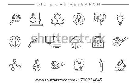 Oil and Gas Research concept line style vector icons set