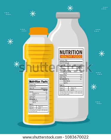 oil and milk bottles with nutrition facts