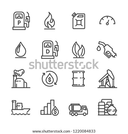 Oil and petrol energy icon related gas station set vector for web