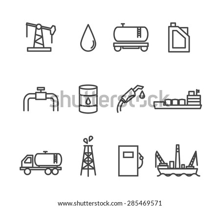 Oil and petrol industry line icon set. Tanker and fuel, energy industry, vector illustration