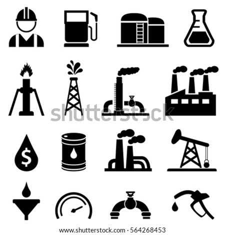 Oil and petroleum related icon set