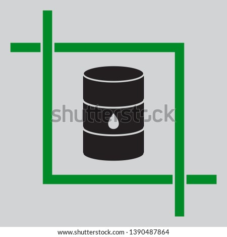 Oil barrel sign. Black icon inside green crop tool at light gray background
