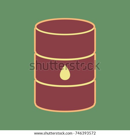 Oil barrel sign. Vector. Cordovan icon and mellow apricot halo with light khaki filled space at russian green background.