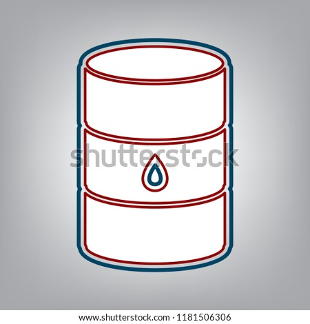 Oil barrel sign. Vector. Dark red, transparent and midnight green stroke of white icon at grayish background.