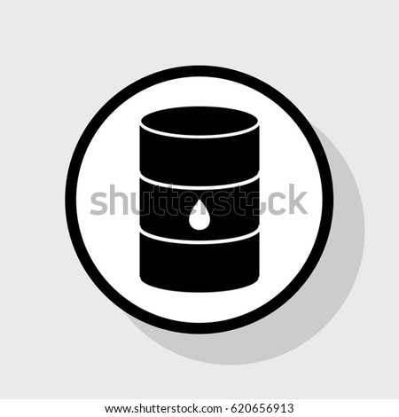 Oil barrel sign. Vector. Flat black icon in white circle with shadow at gray background.