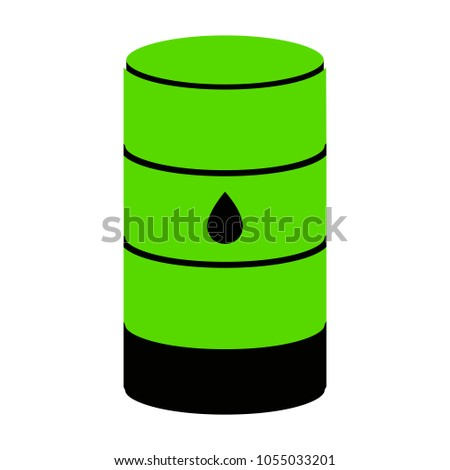 Oil barrel sign. Vector. Green 3d icon with black side on white background. Isolated.