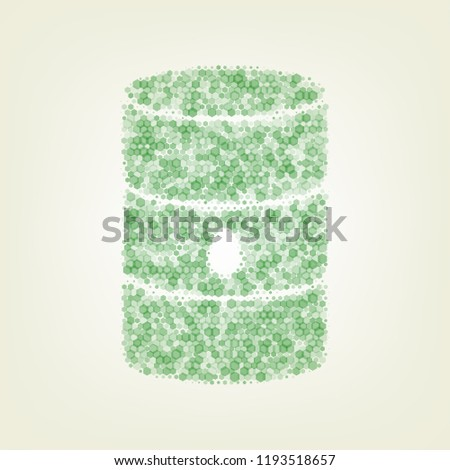 Oil barrel sign. Vector. Green hexagon rastered icon and noised opacity and size at light green background with central light.