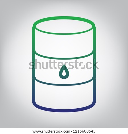 Oil barrel sign. Vector. Green to blue gradient contour icon at grayish background with light in center.