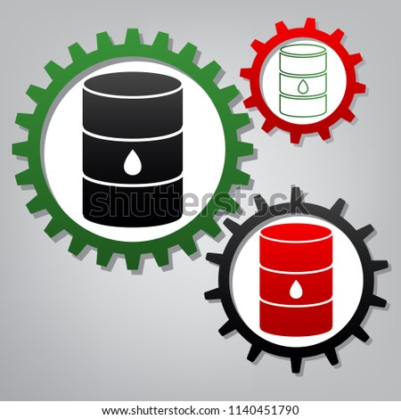 Oil barrel sign. Vector. Three connected gears with icons at grayish background.