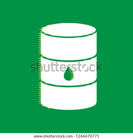 Oil barrel sign. Vector. White flat icon with yellow striped shadow at green background.