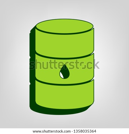 Oil barrel sign. Vector. Yellow green solid icon with dark green external body at light colored background.