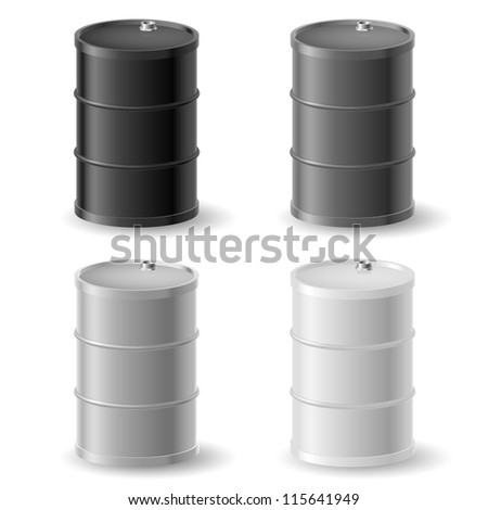 Oil barrels. Gray icons set on white