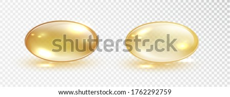 Oil bubble isolated on transparent background. Transparent yellow capsule of drug, vitamin or fish oil macro vector illustration. Cosmetic pill capsule of vitamin E, A or argan oil.