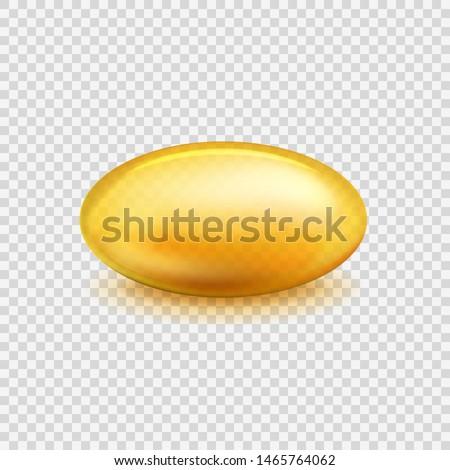 Oil capsule. Vitamin pill omega 3 fish oil, fatty organic acid medical diet nutrient. Cosmetic gold transparent capsule vector natural gel capsul 3d mockup