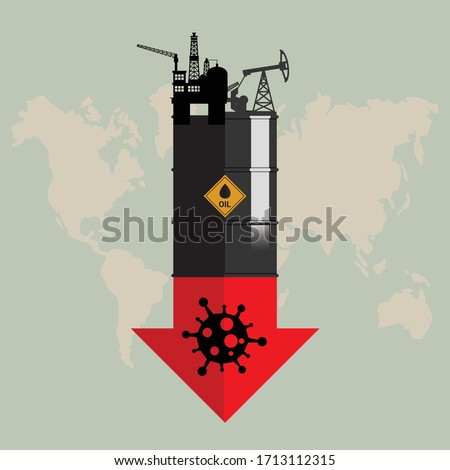 Oil crisis because outbreak of (pandemic) coronavirus concept. Design with Rig, Winch, Oil Tank and red down arrow with COVID-19 showing a decline in oil prices. World economic recession. Flat vector
