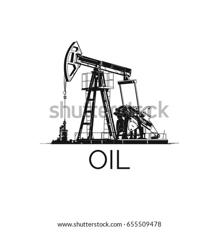 Oil derrick. Nice icon. The dig for extraction of minerals. Good technical illustration. Isolated on a white background.