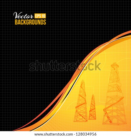 Oil derrick with text field. Vector illustration, eps 10, contains transparencies.