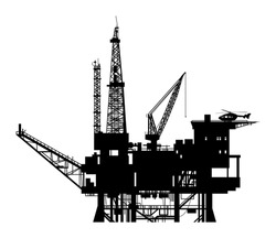 Oil drilling rig silhouette, vector illustration