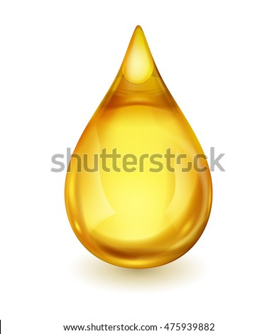 Oil drop isolated on white background. Icon of drop of oil or honey, EPS 10 contains transparency.