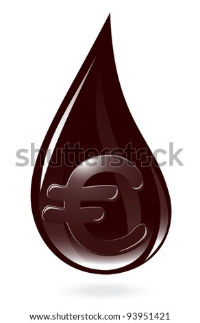 Oil drop with euro symbol