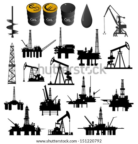 Oil facilities. Black-and-white illustration on a white background.