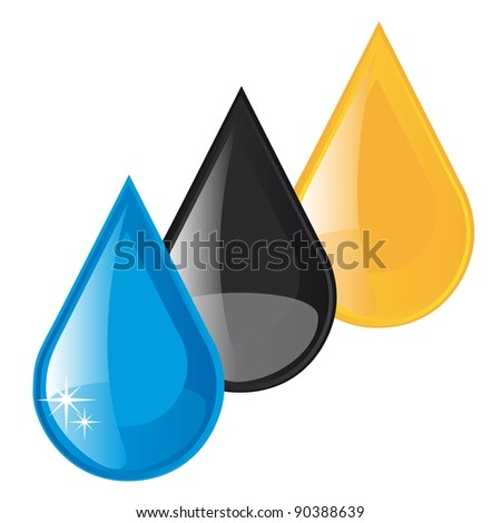 oil,fuel and water raindrops vector illustration over white background