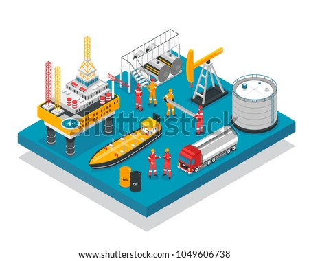 Oil gas industry jack-up drilling rig offshore platform facility isometric composition with tanker vessel vector illustration